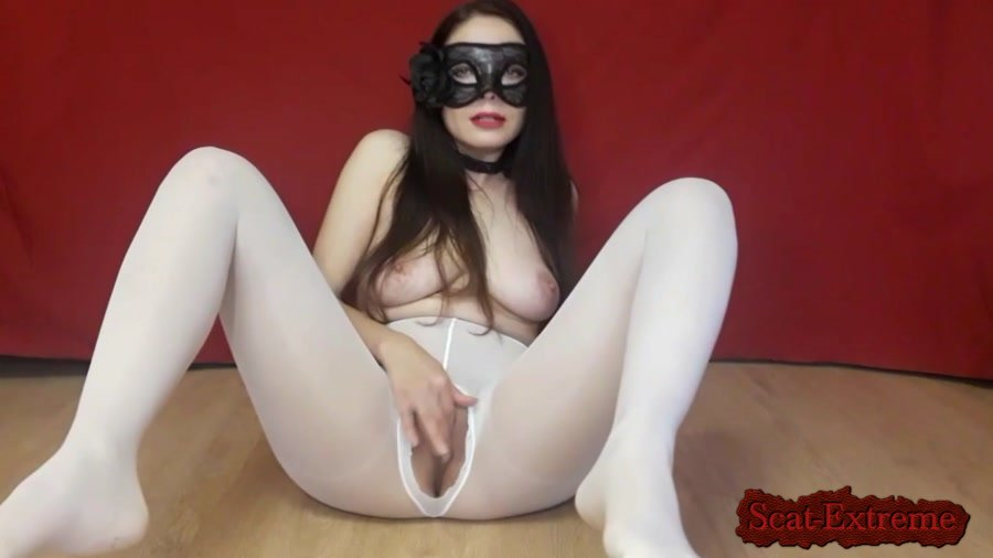 ScatLina FullHD 1080p Poop in white tights [Solo, Farting, Poop, Defecation, Extreme Scat, Scatology]