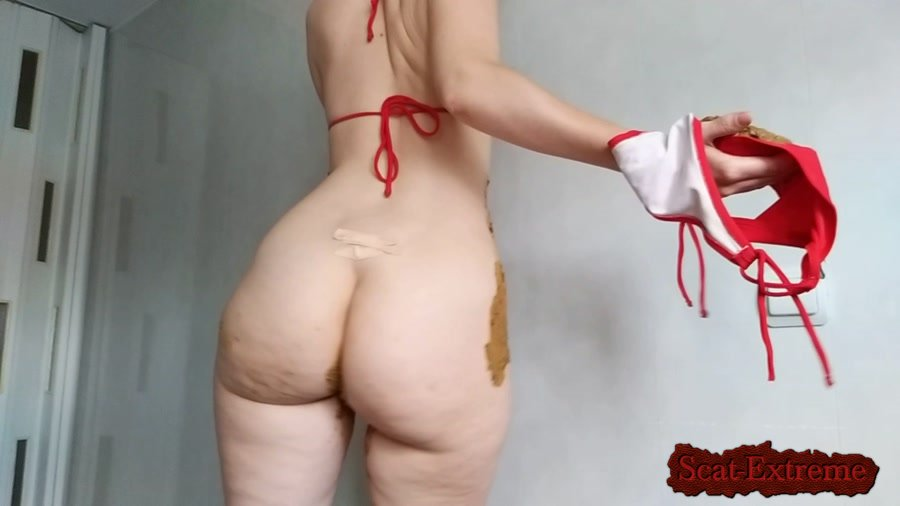 nastygirl FullHD 1080p striptease pooping smearing in red bikini [Defecation, Extreme Scat, Scatology, Solo]